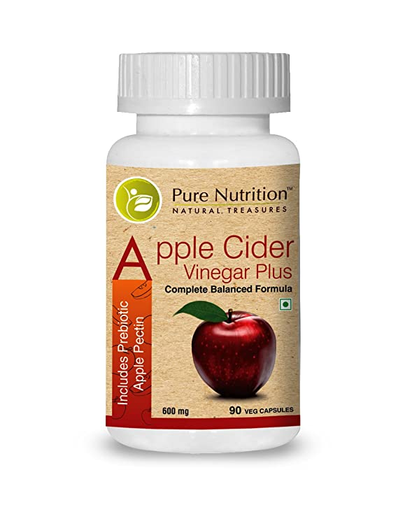 Pure Nutrition Apple Cider Vinegar Plus Includes Prebiotic Apple Pectin Capsules - 90 Capsules Weight Management Products at amazon