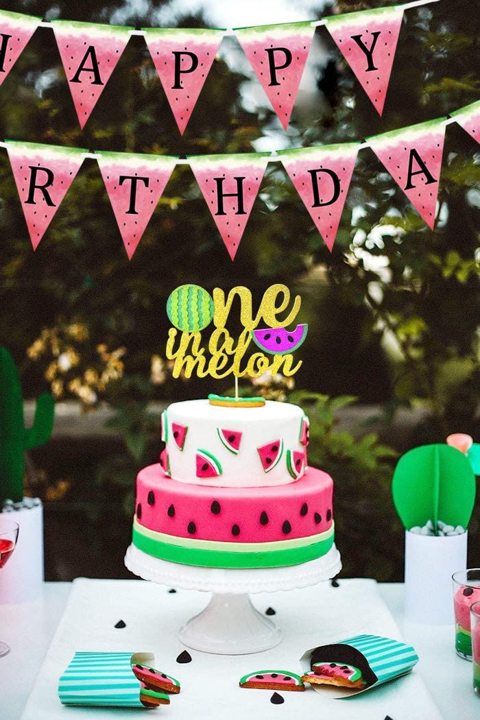 Magnificent One In A Melon Cake Topper Watermelon Banner For Watermelon Themed Funny Birthday Cards Online Inifofree Goldxyz