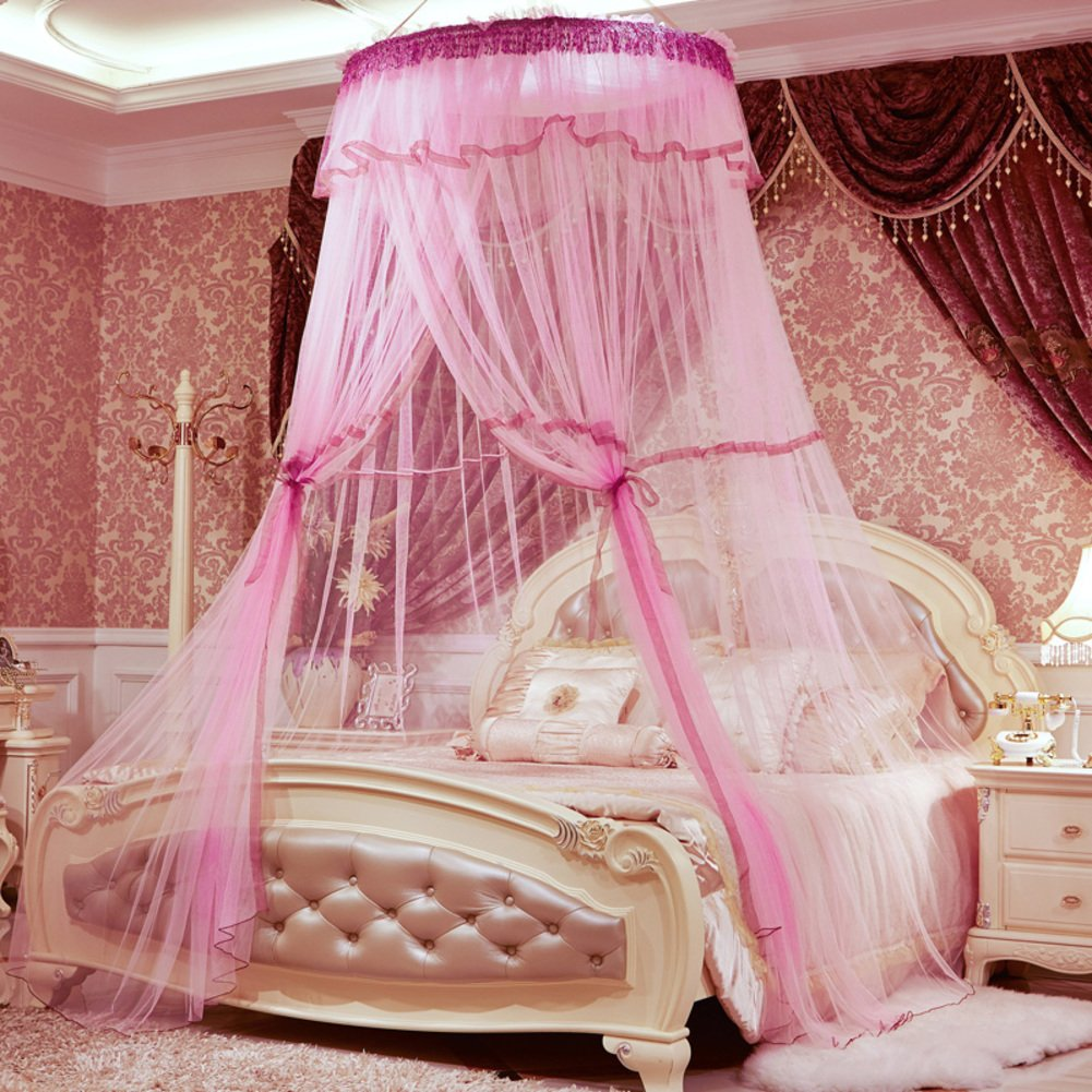 HUEHFUEGF Luxury dome princess bed canopy mosquito net, Suspended ceiling Floor Double Insect fly protection screen-A Queen1