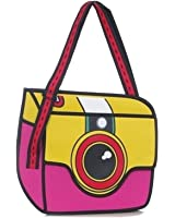 Newtripod 3D Style 2D Drawing Cartoon Paper Bag Comic 3D Messenger Bag for Women and Girls Teens Satchel Handbags with Shoulder Wide Strap School Crossbody Bags for College,Light Blue (Red)