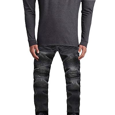 SkylineWears Mens Skinny Destroyed Slim Fit Straight Fashion Stretch Biker Zipper Jeans