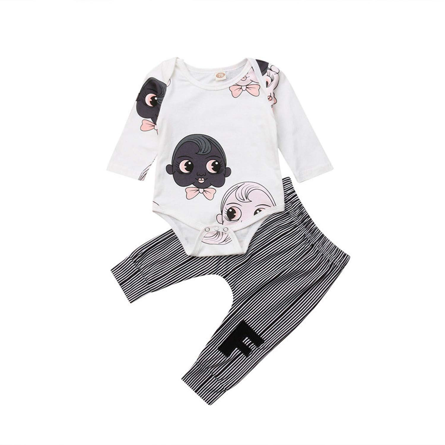 e99ad2b3307 Amazon.com  Cartoon Newborn Baby Girl Long Sleeve Tops Romper Jumpsuit  Striped Pants Outfits Clothes Set  Clothing