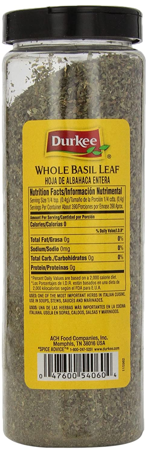 Amazon.com : Durkee Basil Leaves, Whole, 5.5-Ounce Packages (Pack of 3) : Sweet Basil Leaf Spices And Herbs : Grocery & Gourmet Food