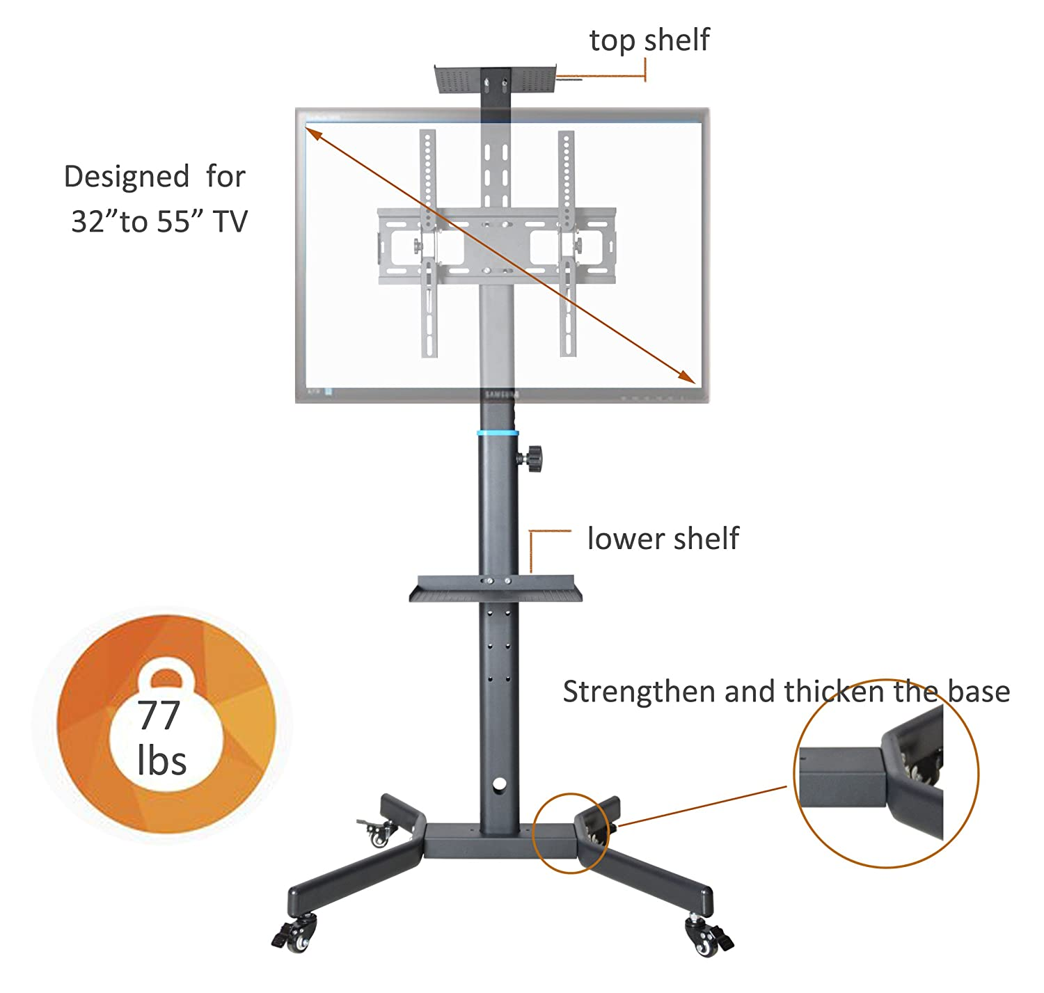 Cnyf Pts008 Mobile Tv Cart For Lcd Led Plasma Flat Screen Panel Basketball Hoop Diagram Trolley Floor Stand With