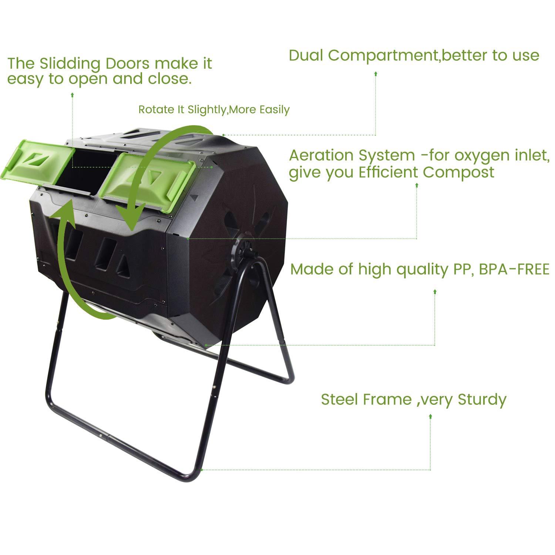 Amazon.com: Cubo de compostaje grande – Jardín al aire libre ...