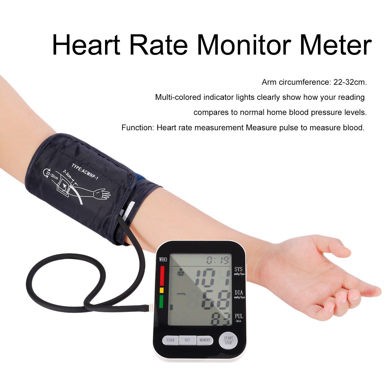 hehilark Tensiómetro, cuidados de salud LCD Digital brazo Tensiómetro monitor USB esfigmomanómetro recargable pulsómetro esfigmomanómetro recargable de USB ...