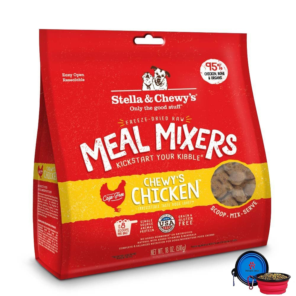 Stella & Chewy's Freeze Dried Dog Food,Snacks Super Meal Mixers 18-ounce Bag With Hot Spot Pets Food Bowl - Made in USA (Chicken) by Stella & Chewy's