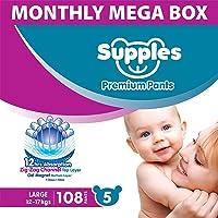 Supples Pant Style Diaper Mega-Box, Size 5, 12-17kgs, 108 count