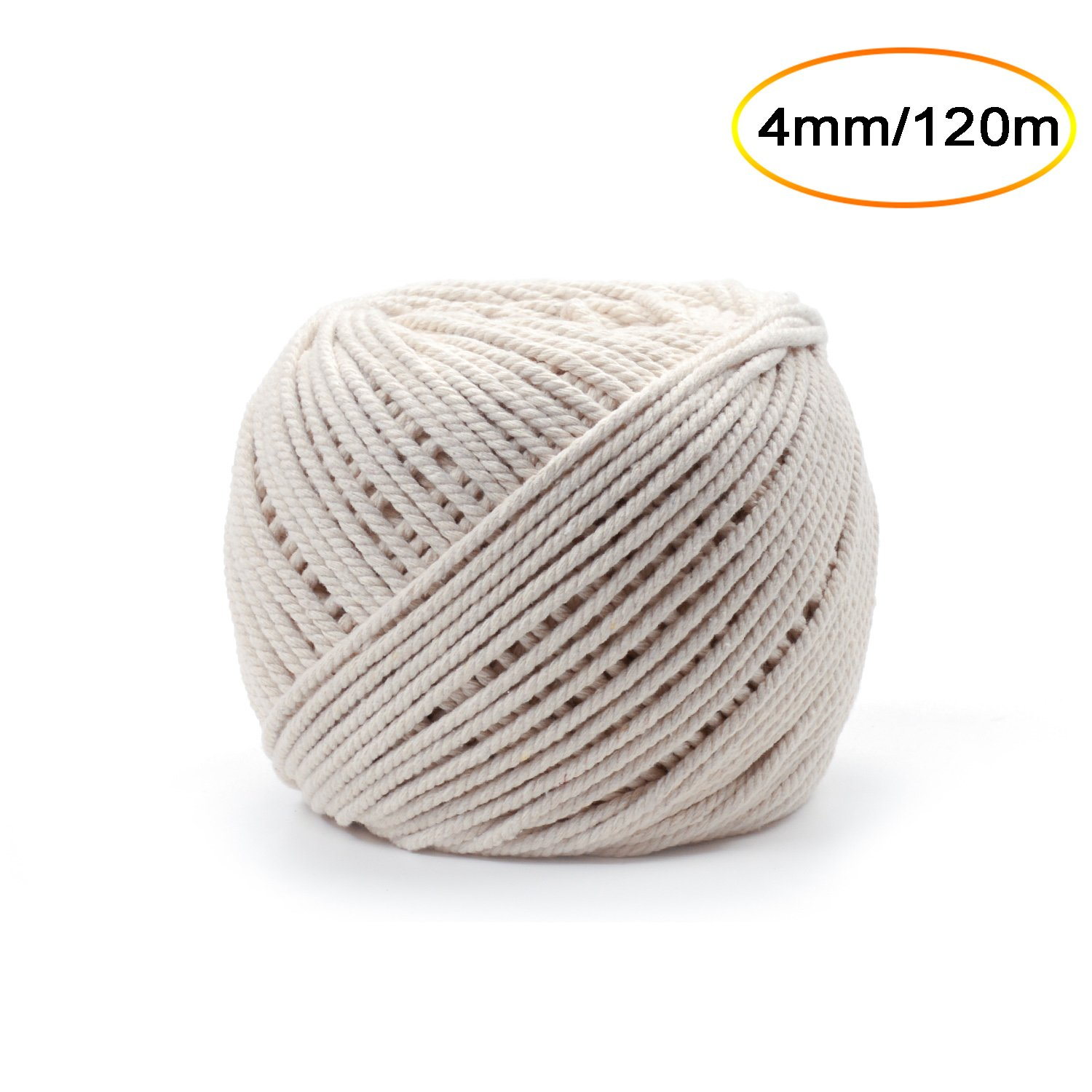 eborder Cotton Cords Macrame Rope DIY Wall Hanging Plant Craft Cord Knitting Cotton Rope String, Natural Color 120 m (4 mm)