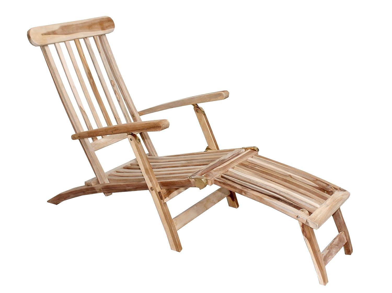 Ambientehome Teakholz Deckchair Liege Gartenliege Samui, Natur