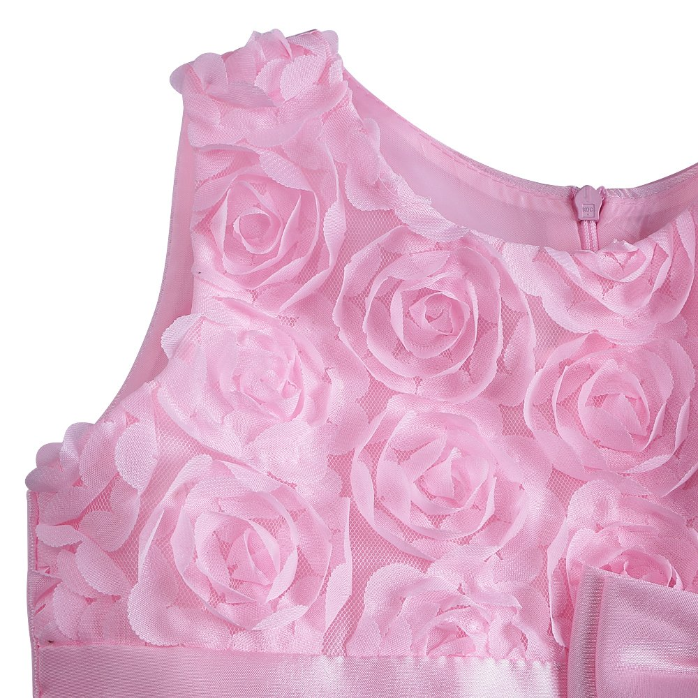 DAXIANG 3D Roses Flower Dress with Bow for Little Girls