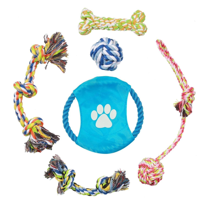 Pecute Hundeseile Hundespielzeug Kauspielzeug Baumwollseil Spielset von Pecute ideal für kleine bis mittelgroße Hunde und Welpen aus natürlichen hochwertigen Baumwollfasern 6 PCS
