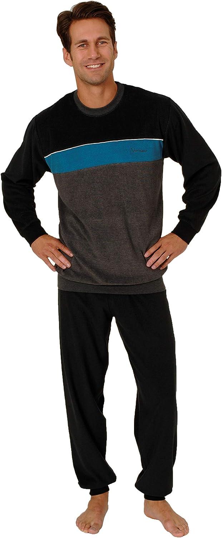 Eleganter Herren Frottee Schlafanzug Pyjama mit B/ündchen 50156