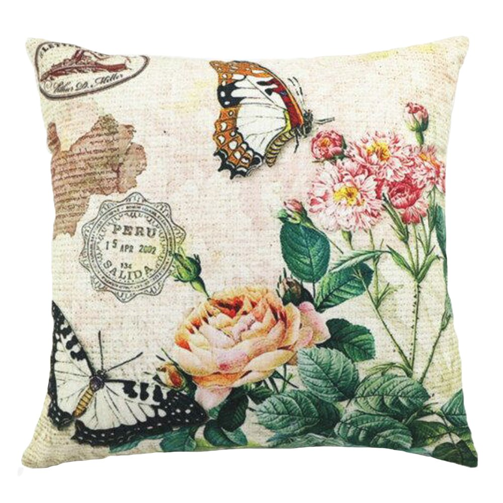 LivebyCare Butterfly Floral Printed Multi-sized Cushion Cover Linen Cotton Throw Pillow Case Sham Pattern Zipper Pillowslip Pillowcase Festival Christmas Xmas Decorative LC_HT_HT-PLPC-12-4545