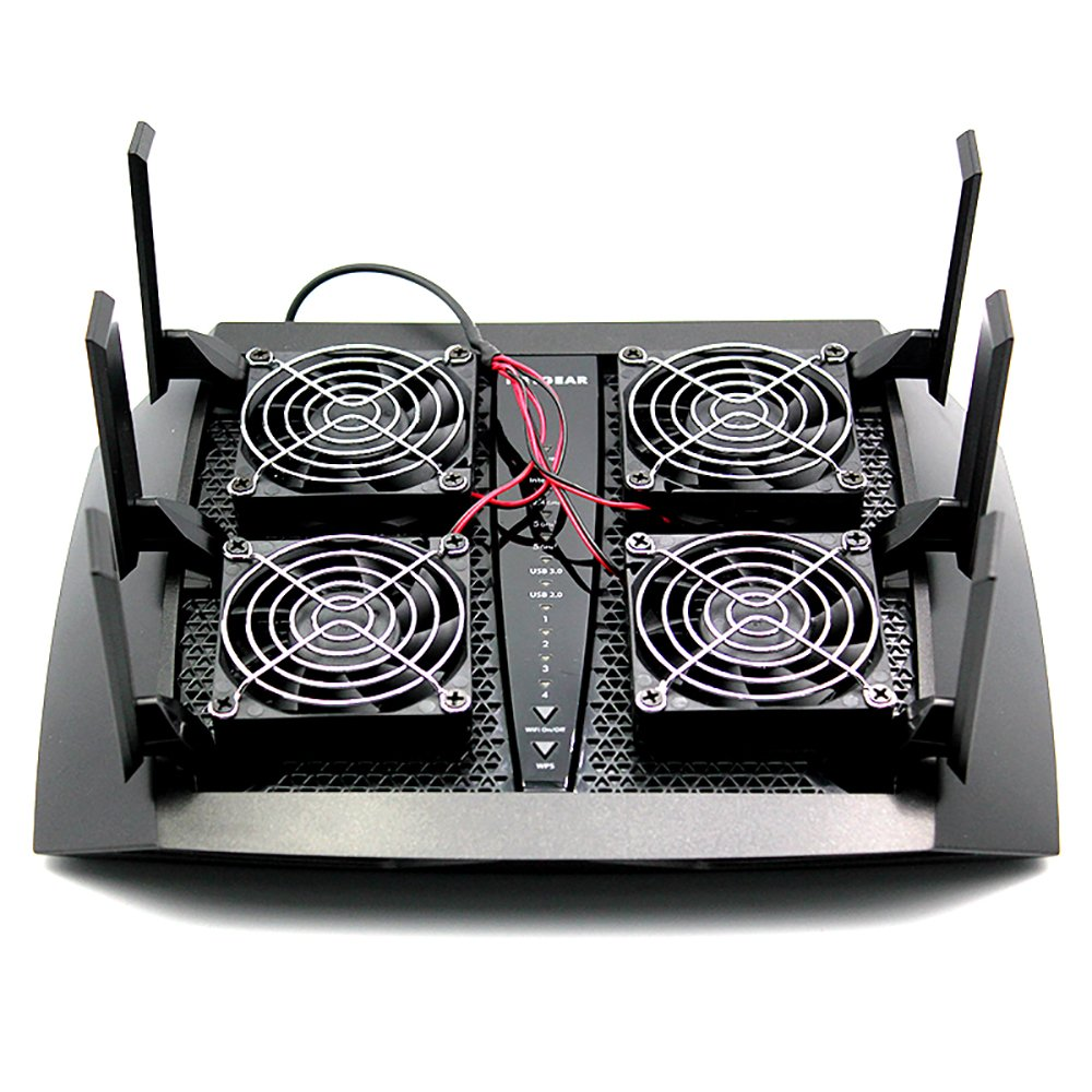 E&M Cooler Fan Heat Radiator USB Power Ultra Silent Dissipate Temperature Control RT-AC5300 R7900 R8000 AC5300 Router Cooling 4 Fans by Electric Magic (Image #3)