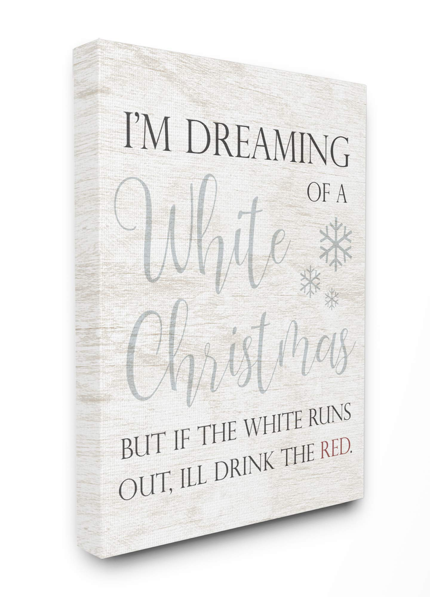 The Stupell Home Décor Collection Holiday White Christmas Drink Red Funny Script Typography Stretched Canvas Wall Art, Multi-Color