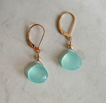 Aqua Blue Chalcedony Briolette Gold Filled Leverback Earrings