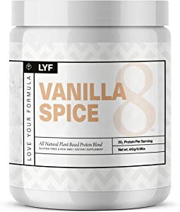 LYF Protein Powder, Vanilla Spice – Plant Based, Vegan, Keto, Paleo, Whole30, Packed with Vitamins, Antioxidants, and Natural Anti-Inflammatory Ingredients, Non-GMO, Gluten-Free, 1 Pound Container.