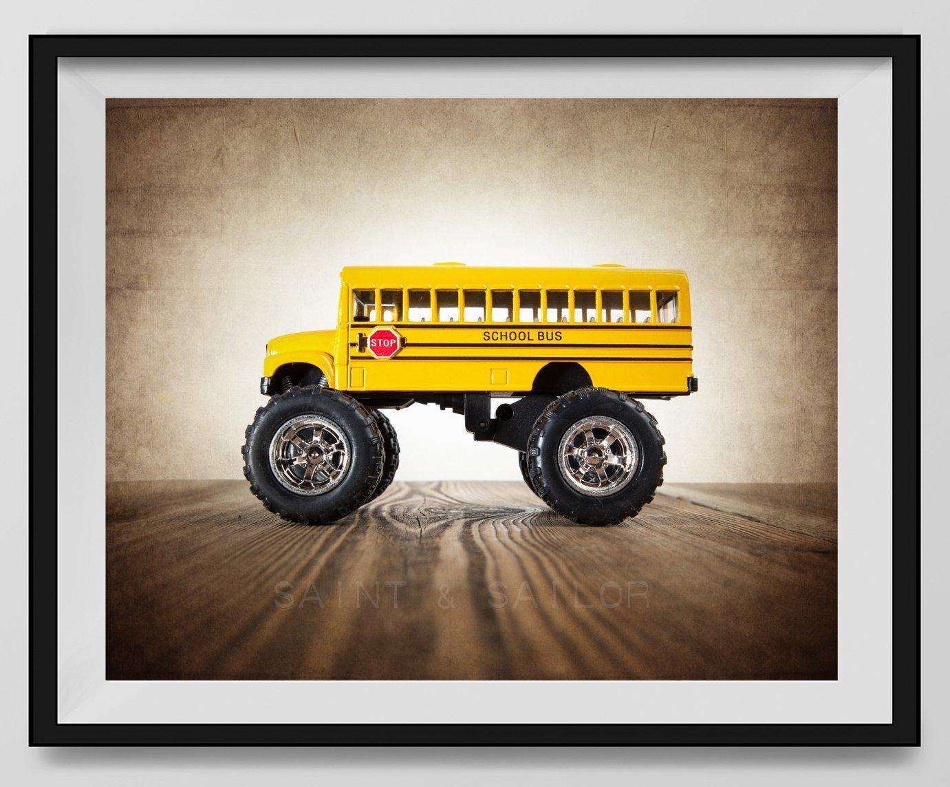 Vintage Monster Truck Photo ''Monster School bus'', Boys room Wall art, Photo Decor, Monster truck room, Nursery decor, Kids Room Wall Art.