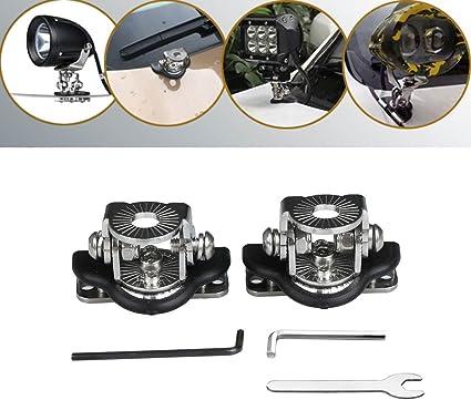 2 Pcs 304 Stainless Steel Car SUV LED Work Lamp DRL A Pillar Hood Mount Bracket