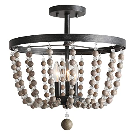 Laluz 3 Light Beaded Semi Flush Mount Ceiling Light Distressed Wood Beads Painted Finish 16 1 D X 17 3 H