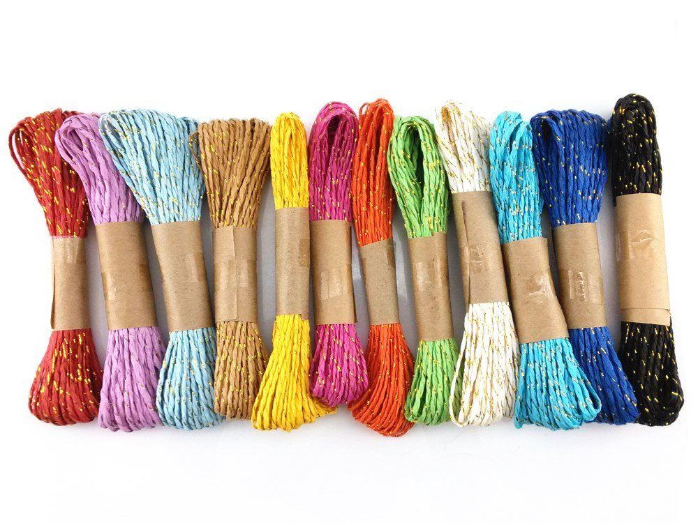yueton 12 Bundles 10m Colorful Raffia Stripes Paper String with Gold Wire DIY Craft Decorating Tool 4336865922