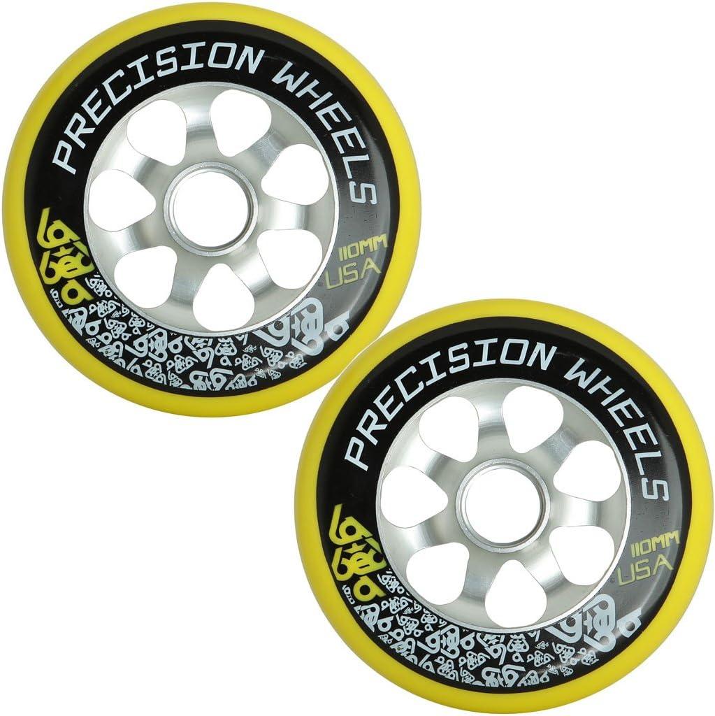 Pro de 110 mm ruedas para patinete (par (lote de 2) Labeda precisión núcleo de aluminio hecha en Estados Unidos, Amarillo: Amazon.es: Deportes y aire libre
