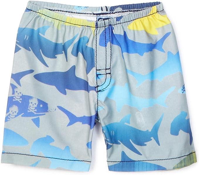 Charlie Rocket Kids Toddlers Swim Trunks Shorts White Blue Red Sharks Waves