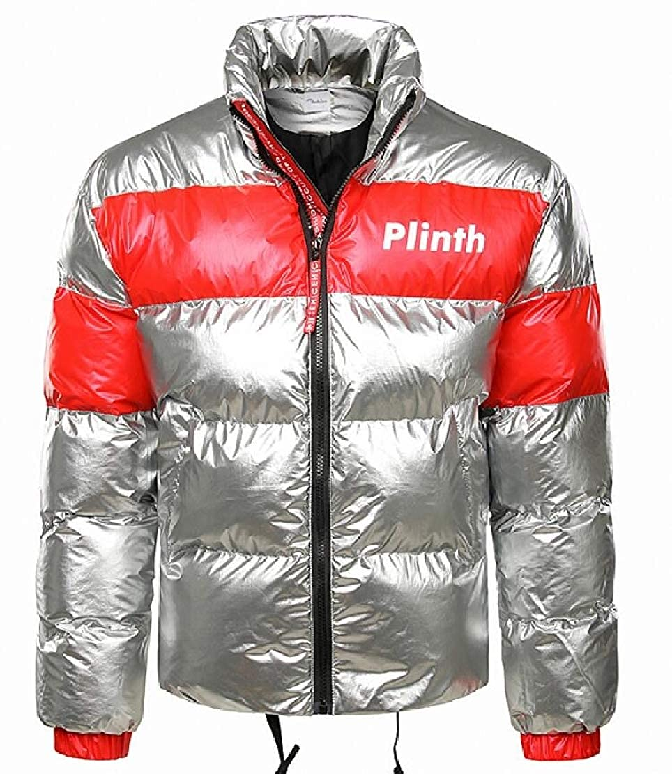 XiaoTianXinMen XTX Mens Stand Collar Puffer Warm Contrast Color Metallic Down Jacket