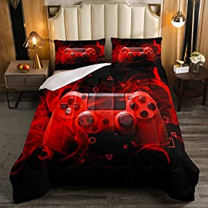 Kids Gamepad ComforterSet Full Size Gamer Bedroom Decor for Boys Girls Teens Video Game Controller Bedding Set Youth Gaming Console Comforter Red Black Geometry with 2 Pillow Case