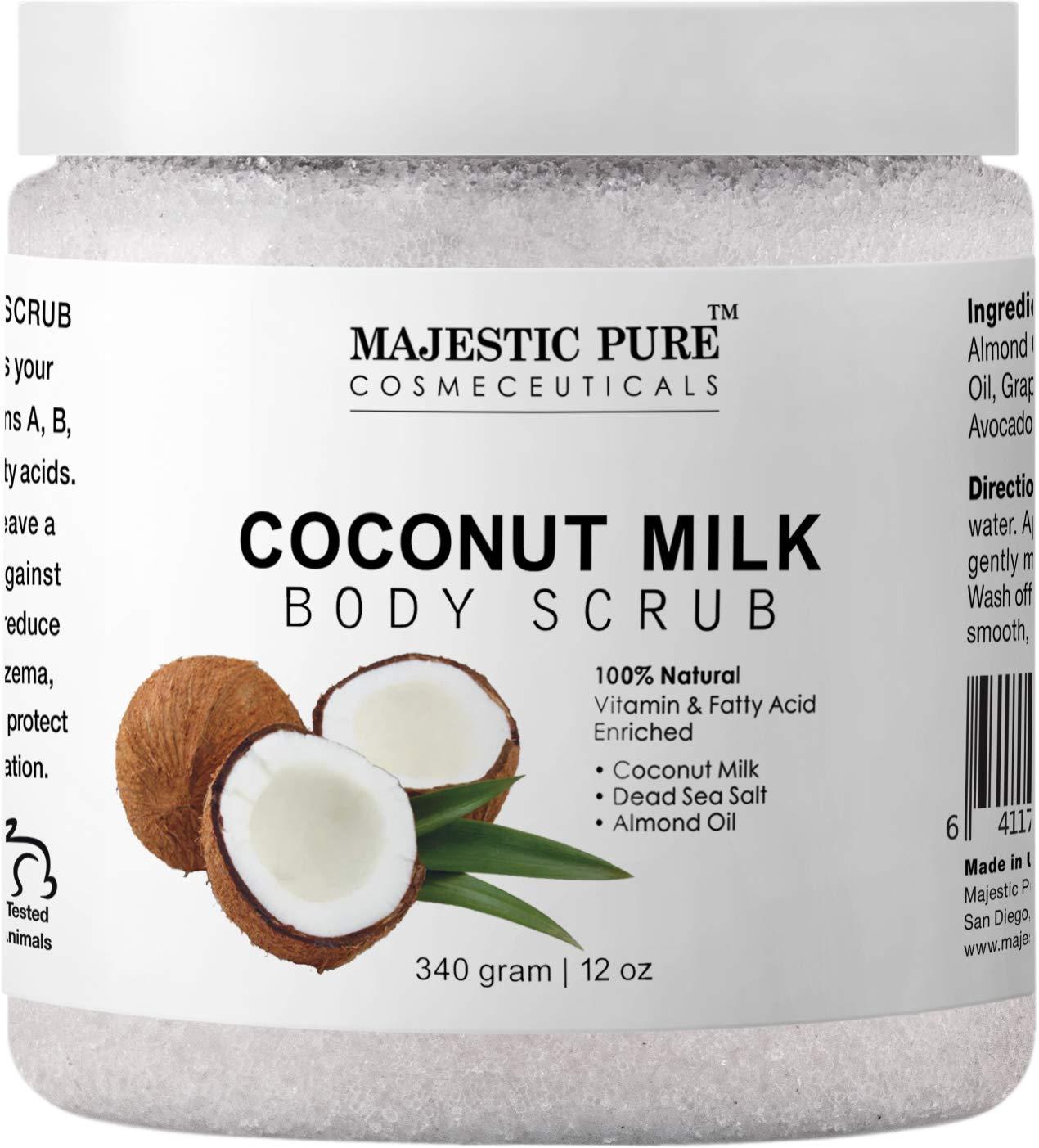 Majestic Pure Coconut Milk Body Scrub  Anti Cellulite   Exfoliator  Natural Skin Care Formula Helps with Stretch Marks  Eczema  Acne and Varicose Veins  12 Oz