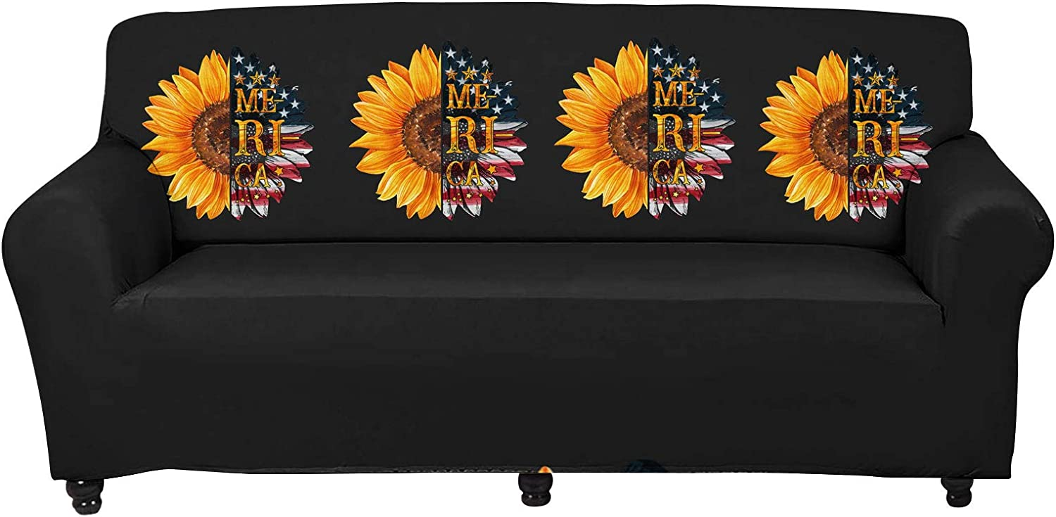 WELLFLYHOM Sofa Covers for 1 Cushion Couch American Flag Sunflower Design Stretchable Waterproof Decorative Couch Slipcover One Piece for Living Room Office Slip Couch Cover Anti Slip Large