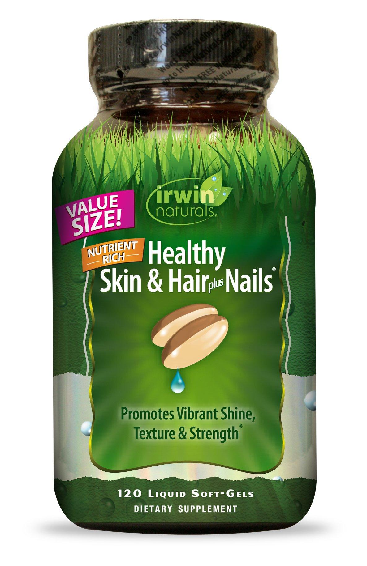 Irwin Naturals Nutrient Rich Healthy Skin & Hair Plus Nails - Promotes Vibrant Shine Texture & Strength - 120 Liquid Softgels