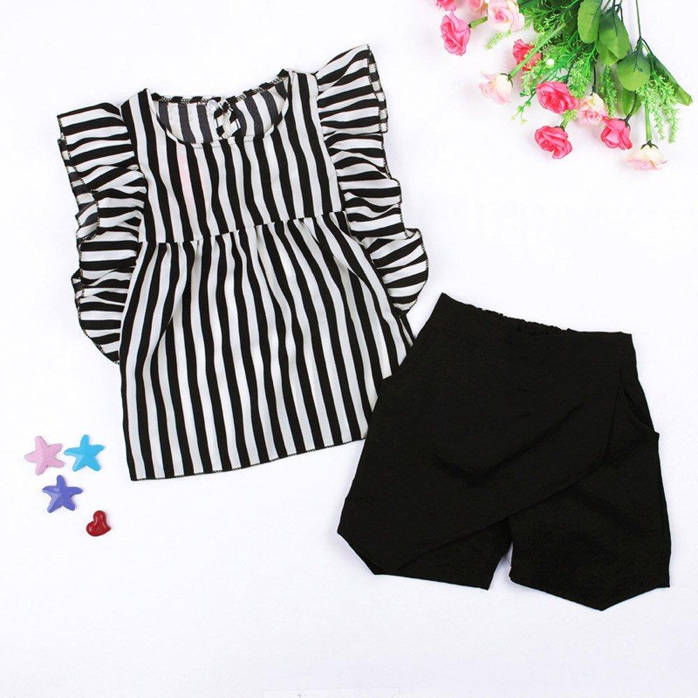 8e543c1f2 Covermason Niña Rayas Camiseta Tops y Negro Pantalones Cortos (1 Conjunto)  Covermason-23. Ampliar imagen
