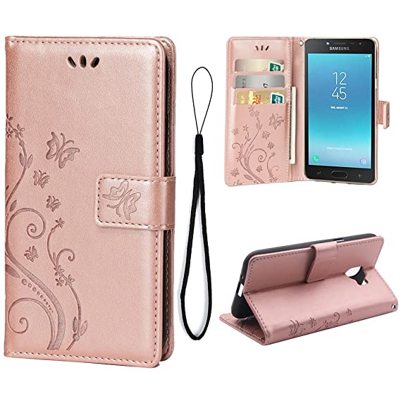 online store 43707 813a1 Wallet Case for Samsung Galaxy J2 PRO (2018), 3 Card Holder Embossed  Butterfly Flower PU Leather Magnetic Flip Cover for Samsung Galaxy J2 PRO  ...