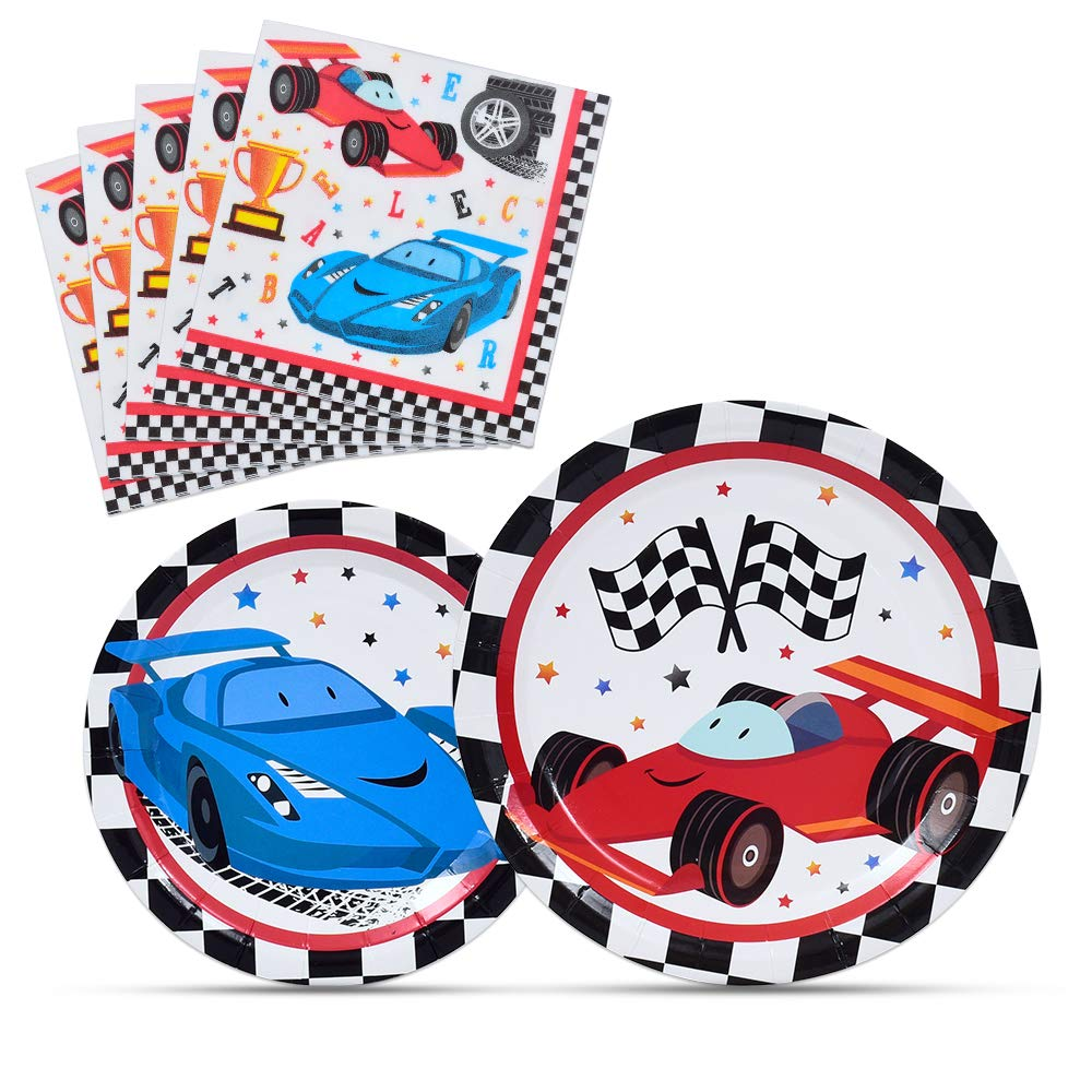 WERNNSAI Racing Car Party Supplies for Boys - Checked Race Car Plates and Napkins Disposable Paper Luncheon Dinner Dessert Cake Plates Tableware Kit 48 PCS Serves 16 Guests by WERNNSAI