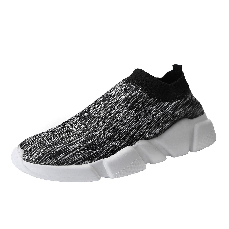Mevlzz Mens Casual Athletic Sneakers Knit Running Shoes Tennis Shoe for Men Walking Baseball Jogging (1177-Black White40)