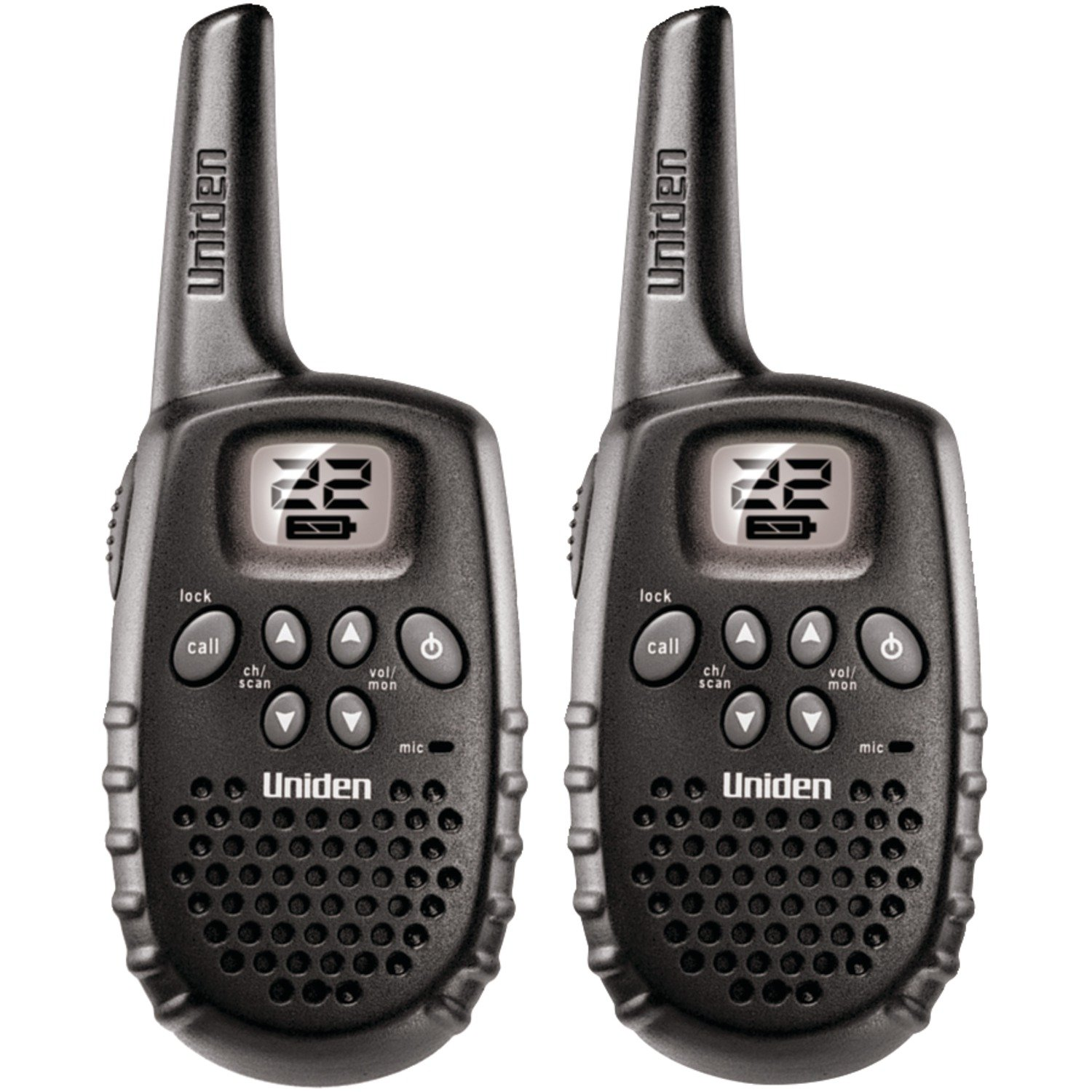 Uniden (GMR1635-2) Up to 16-Mile range, 22 Channels, Battery FRS/GMRS Two-Way Radio Pair. Battery Strength Meter, Keypad Lock, and Channel Scan. Black Color