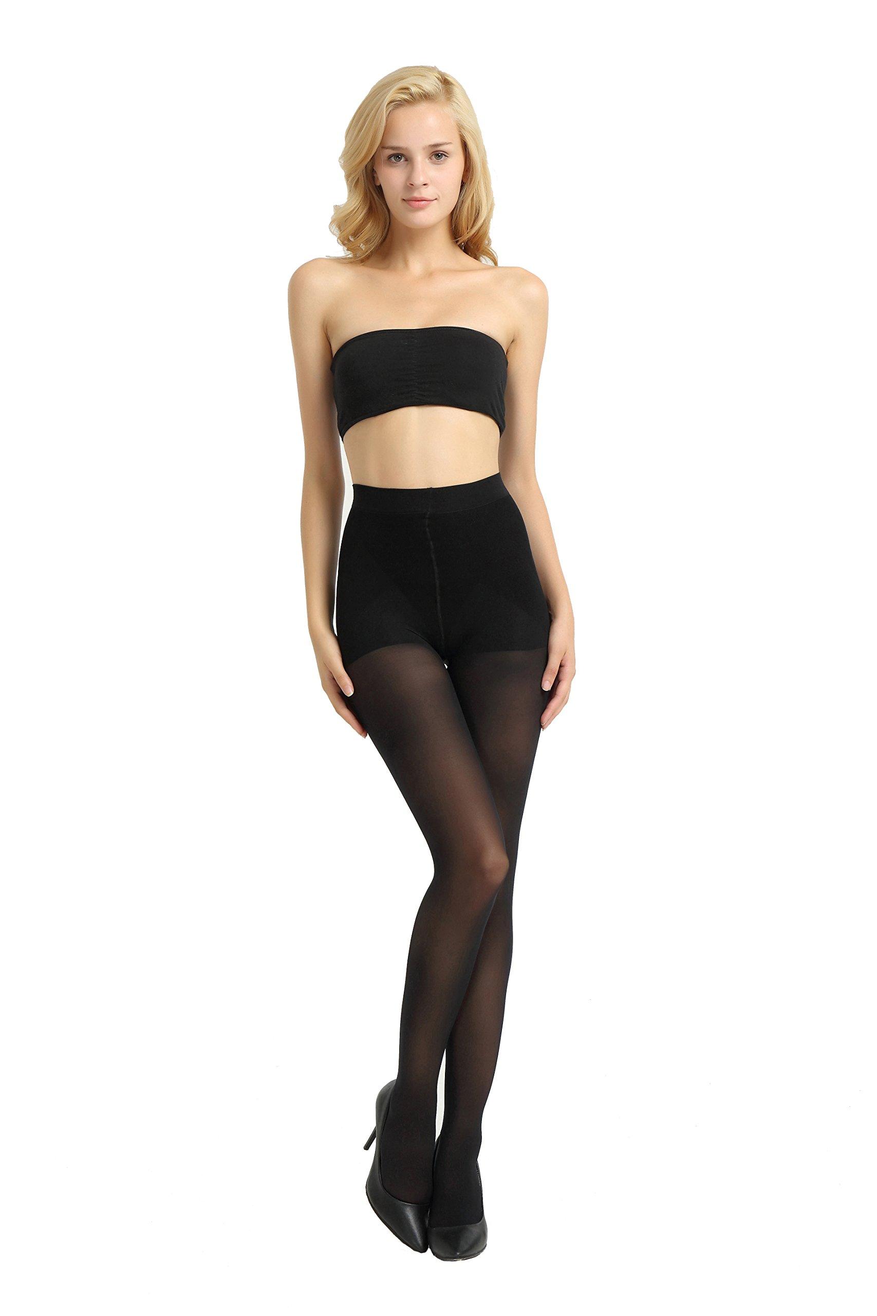 Alice & Belle Women's 40 Den superfine fiber Control Top Pantyhose, super soft tights (X-Large, Black)