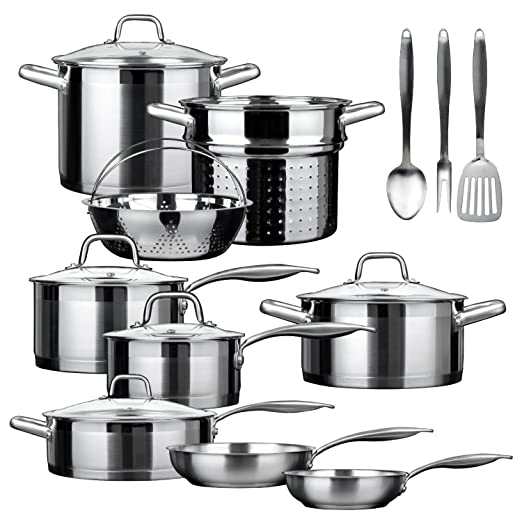 Duxtop SSIB-17 Professional 17 piece Stainless Steel Induction Cookware Set Impact-bonded Technology