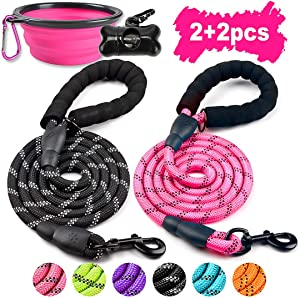 COOYOO - 2 Pack Dog Leash 5 FT Heavy Duty Radiant Colors, Reflective Rope - Padded Handle - Reflective Dog Leash for Medium Large Dogs with Collapsible Pet Bowl