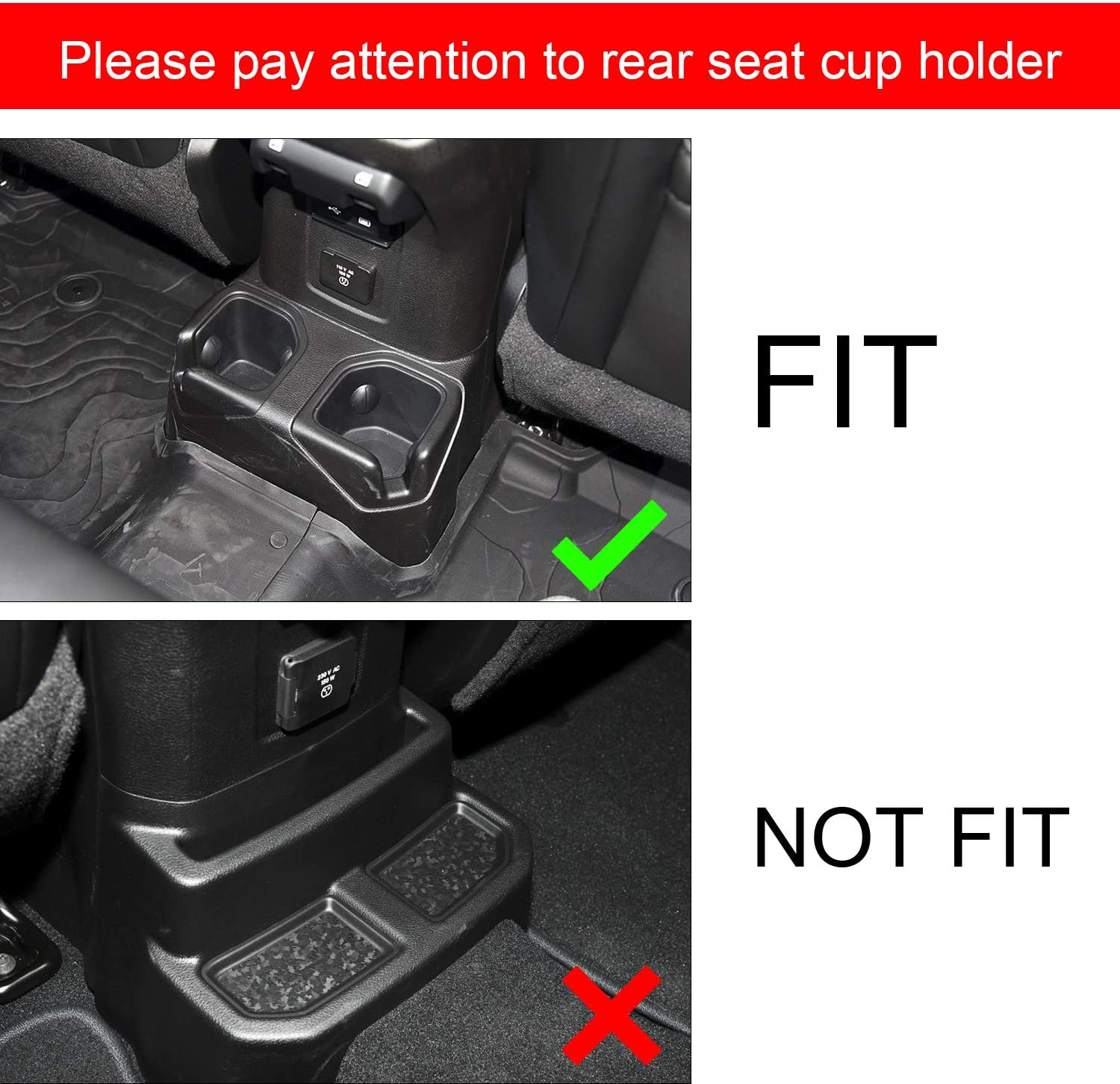 ABESTcar Cup Holder Insert Cup Coaster for 2018 2019 Jeep Wrangler JL JLU 2020 Gladiator JT Cup Mat Pad Inserts aInterior Accessories 4 Pcs Kit,Red Trim