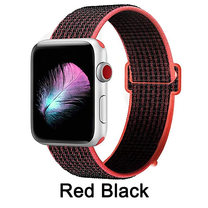 AusFeLin Compatible for Apple Watch Band 38mm 40mm 42mm 44mm, Soft Nylon Sport Loop, with Hook and Loop Fastener, Replacement Band Compatible for ...
