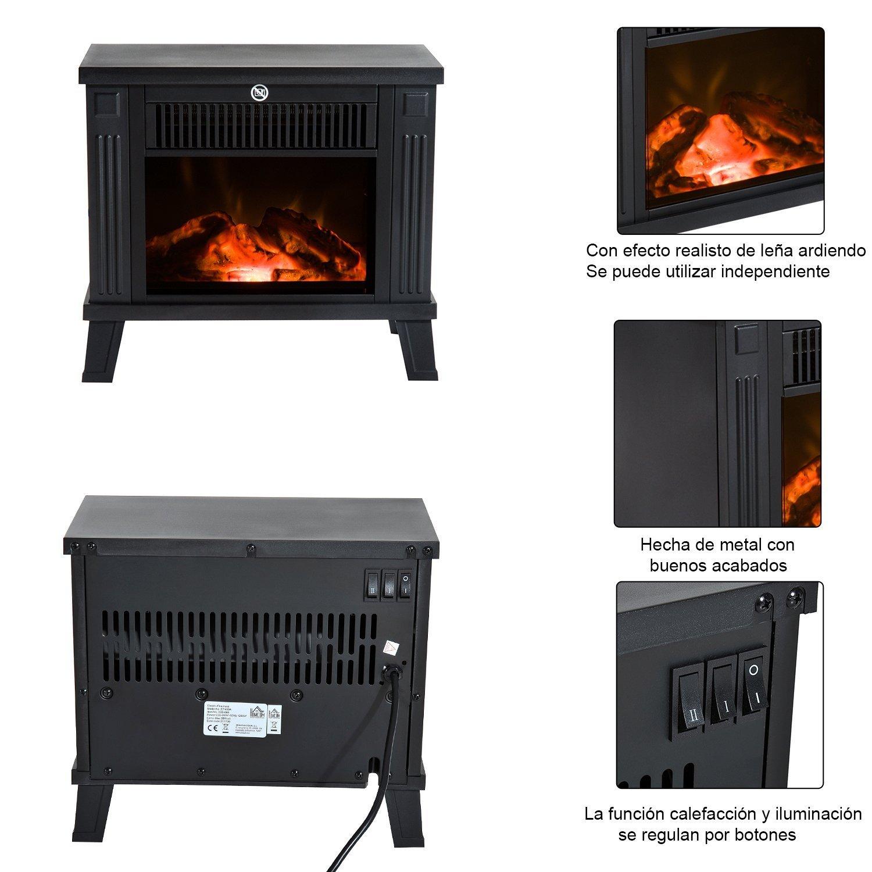 HomCom Chimenea Eléctrica Calefactor Tipo Estufa de Pie con Efecto de Leña Ardiendo 600W/1200W - Negro - 34.5x17x31cm