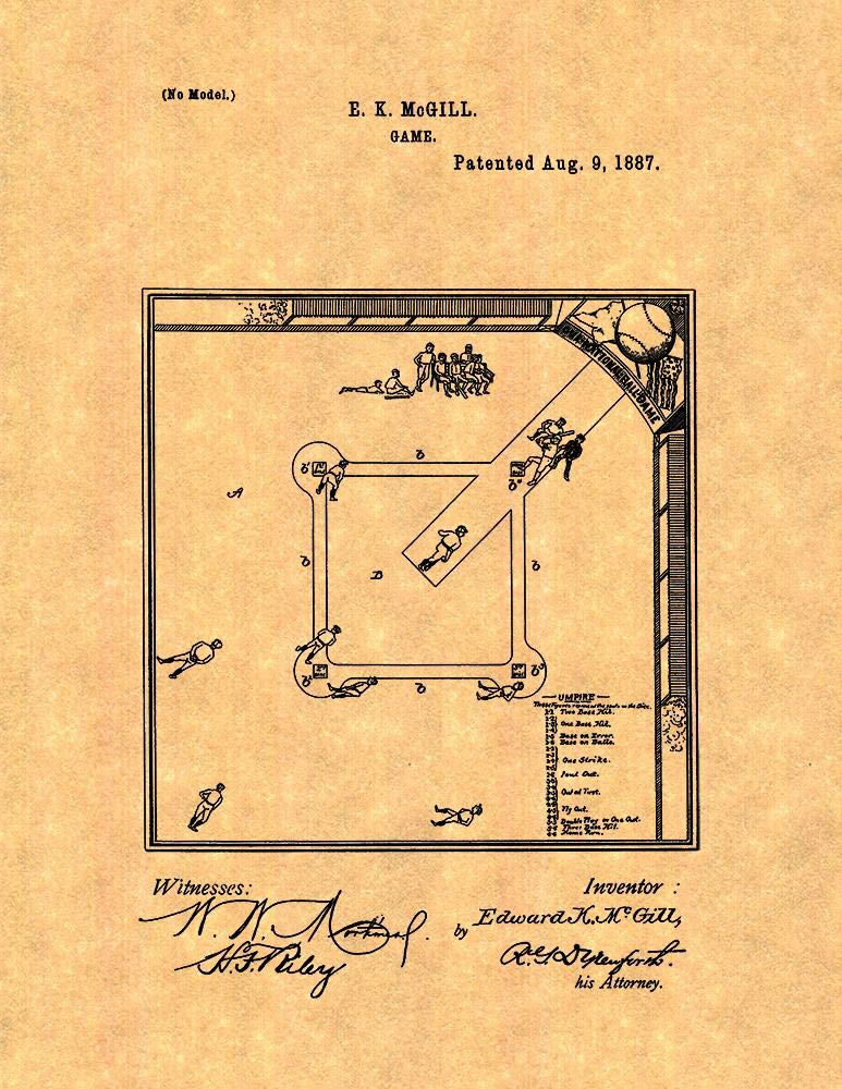 Baseball Game Patent Print Old Look