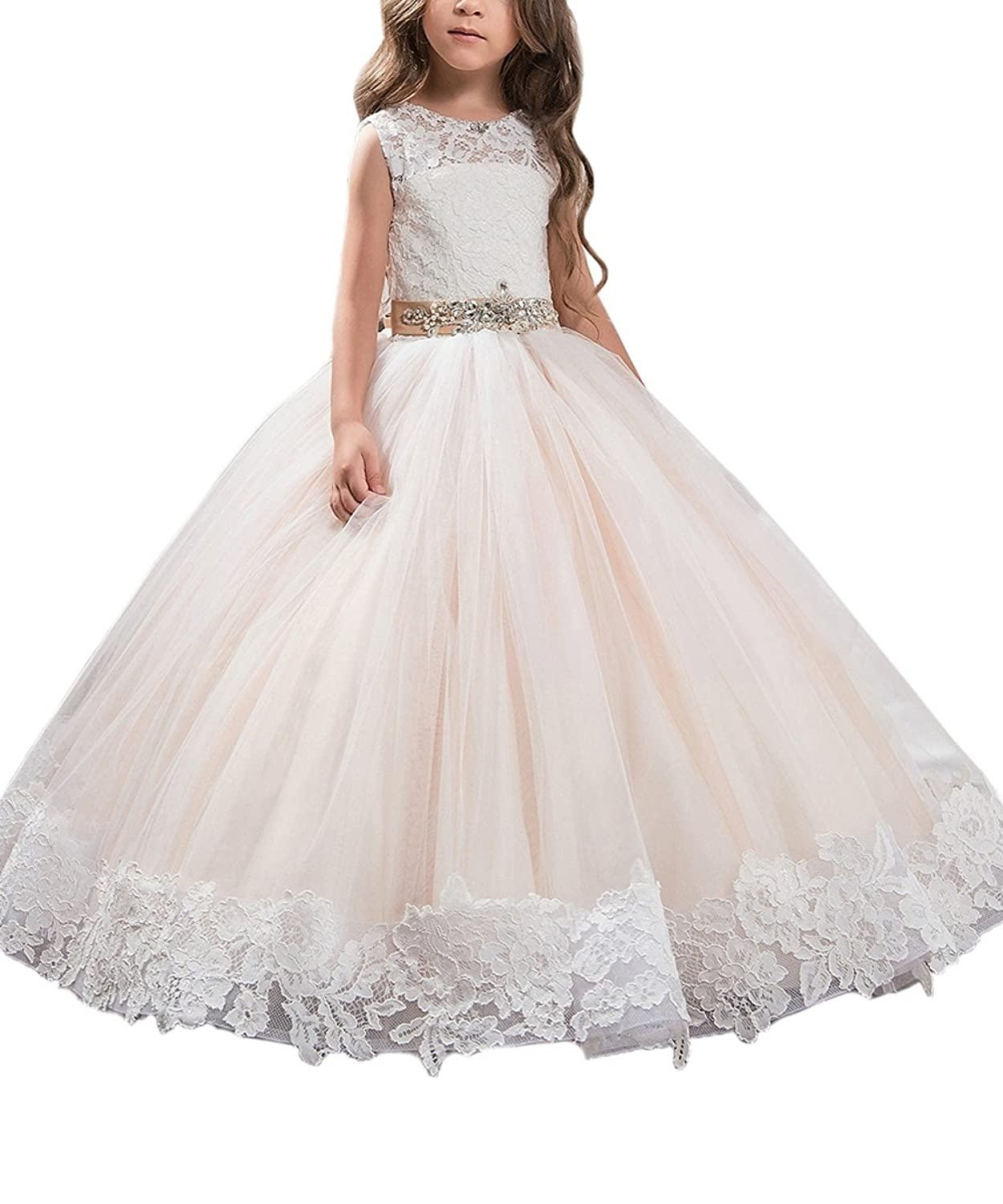 395049883a4a AbaoSisters Flower Girl Dress Floral Appliques Sleeveless Fluffy Kids Ball  Gown White Ivory