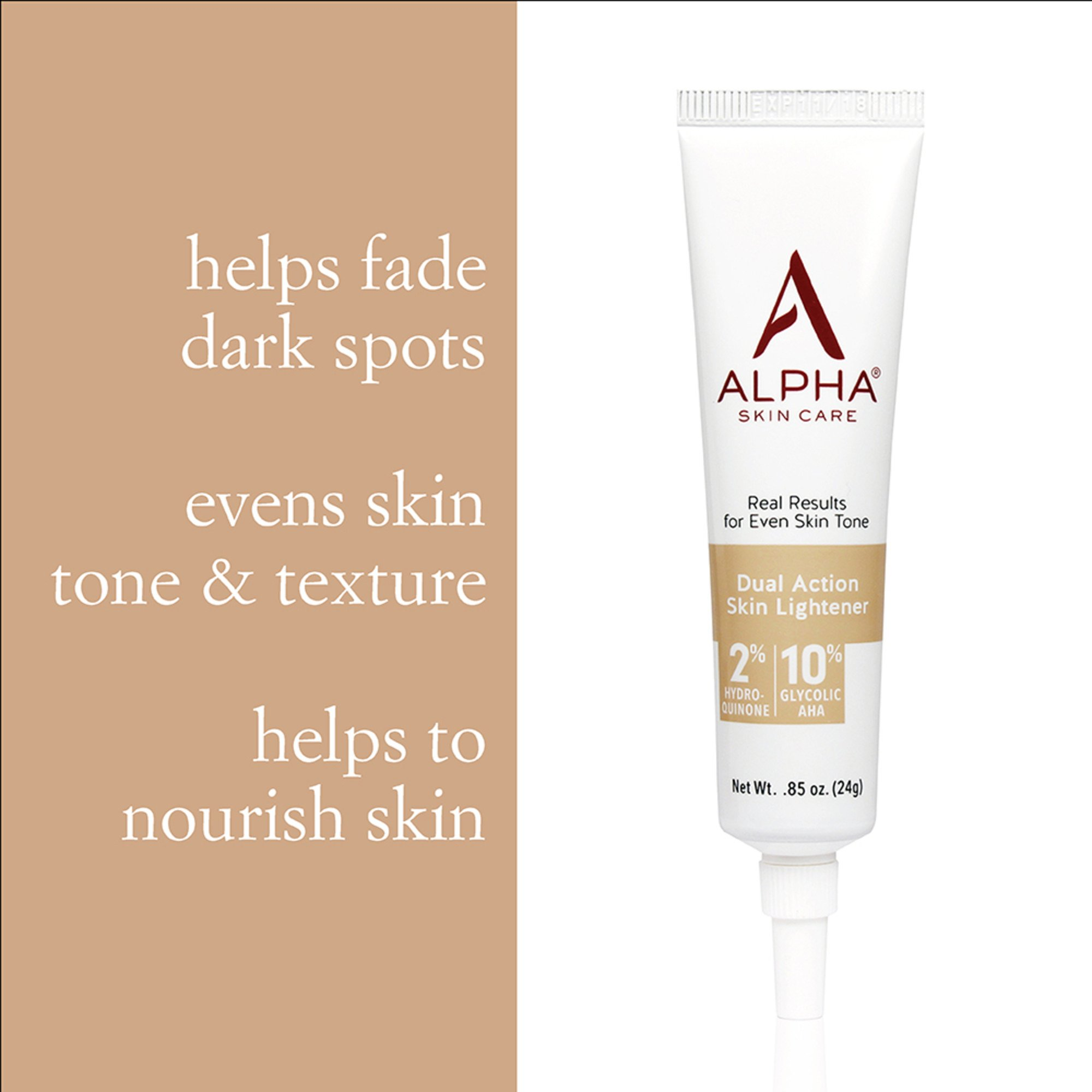 Alpha Skin Care - Dual Action Skin Lightener, 2% Hydroquinone, 10% Gycolic AHA, Real Results for Even Skin Tone| Paraben-Free| 0.85-Ounce by Alpha Skin Care (Image #3)