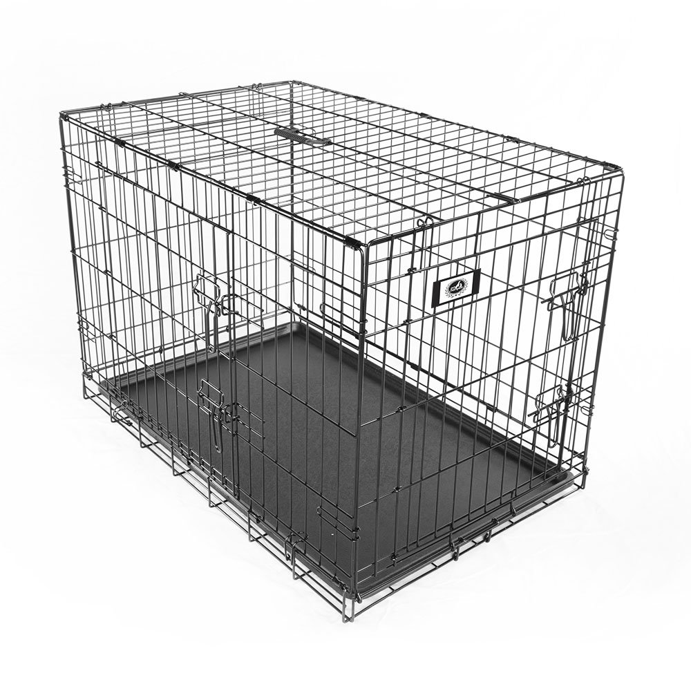 Pet Champion Deluxe 36 Inch Folding Portable 2-Door Wire Pet Crate Kennel, Large, Up to 70 Pounds by Pet Champion (Image #2)