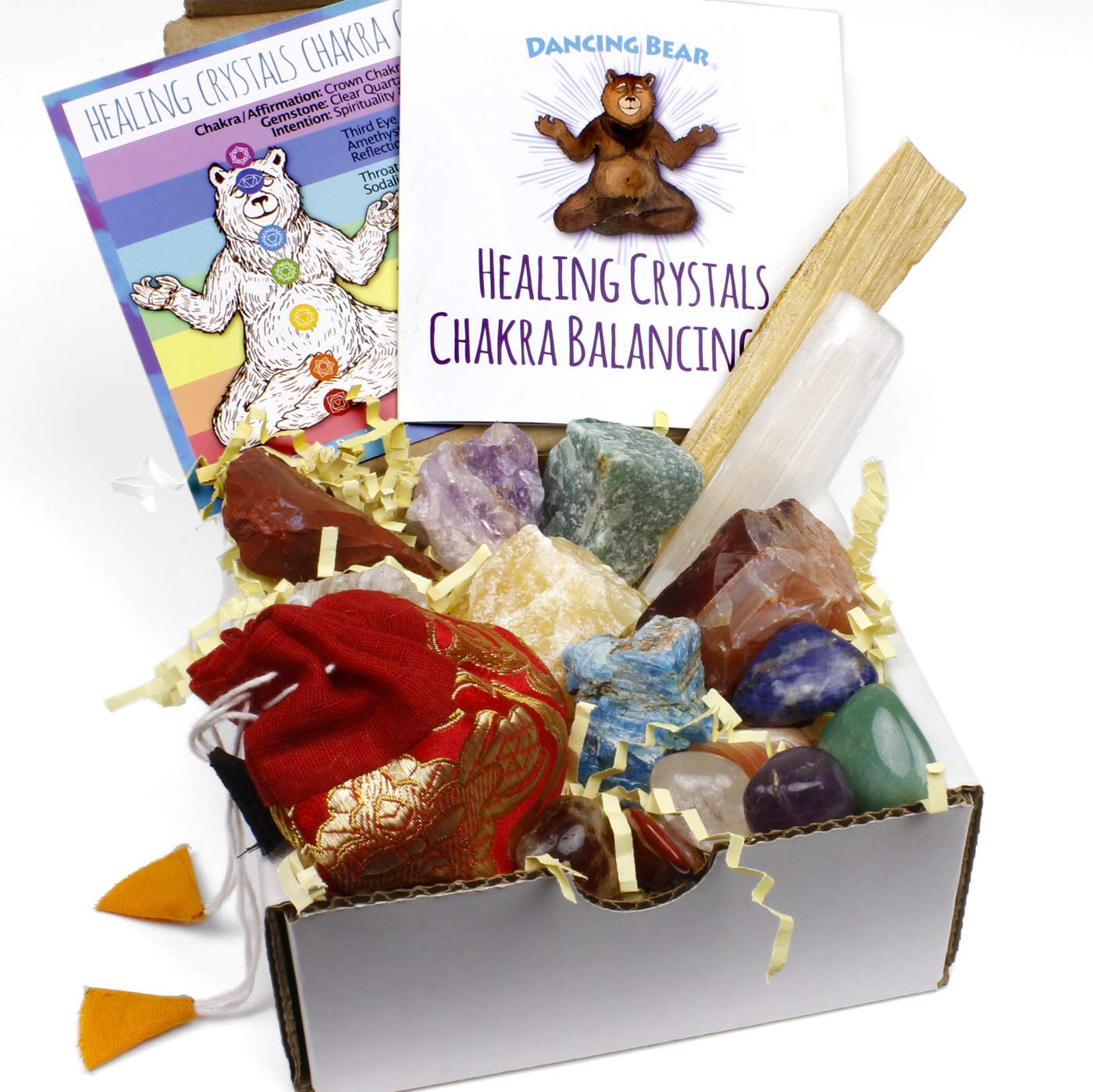 Dancing Bear Healing Crystals Chakra Balance Kit (16 Pc Starter Set), 7 Tumbled Stones, 7 Rough Stones, Selenite Wand & Palo Santo Smudge Stick for Good Energy, Chart and Guide with Metaphysical Info