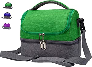 Insulated Small Lunch Box Bag for Men, Kids, Women, Adults, Boys, Girls, Leakproof Dual Compartment Cooler Tote Lunch Box Bag with Shoulder Strap for School, Work, Beach, Picnic (Green)